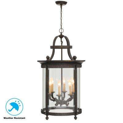 Chatham Collection 6 Light French Bronze Outdoor Hanging Mount Chandelier Lantern