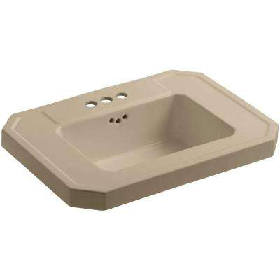 Kathryn 27 in. Fireclay Pedestal Sink Basin in Mexican Sand with Overflow Drain