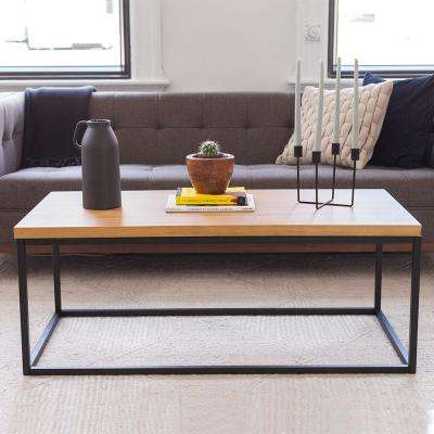Doxa Natural Oak with Matte Black Metal Frame Coffee Table