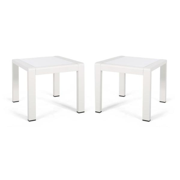 Cape 18 in. Coral Matte White Square Aluminum Outdoor Side Table (Set of 2)