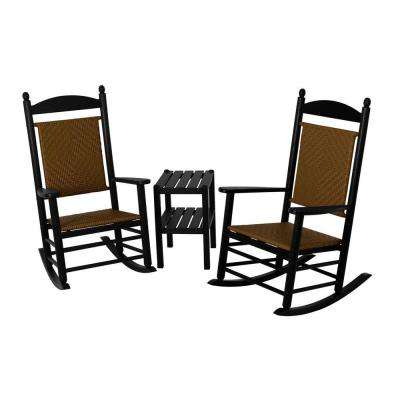Jefferson Black 3-Piece Woven Patio Rocker Set with Tigerwood Weave