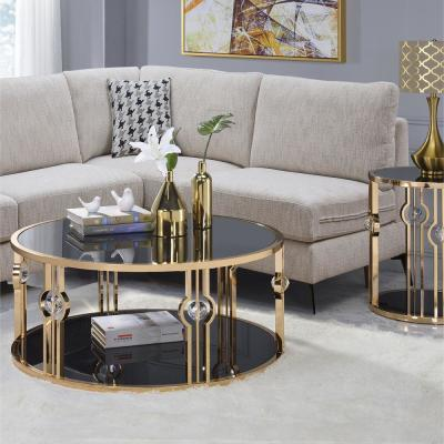 Daloris Gold and Glass Coffee Table