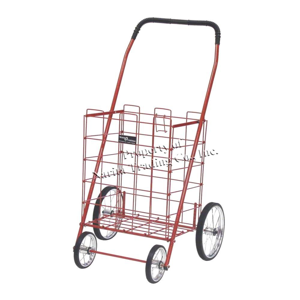 Easy Wheels Mitey Shopping Cart in Red The Easy Wheels Mitey Shopping Cart has been the industry's premier cart with industrial strength for home use. When lying down, with the cart folded, the highest measurement is the wheels with a 9.25 in. Dia giving an incredible amount of convenience in a compact size. This particular model has genuine chrome-spoked wheels with rubber-like tread.