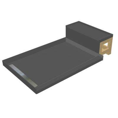 33 in. x 72 in. Single Threshold Shower Base in Gray and Bench Kit with Left Drain and Tileable Trench Grate