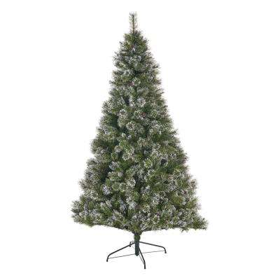 7.5 ft. Unlit Mixed Spruce Hinged Artificial Christmas Tree with Snow Branches and Frosted Pinecones