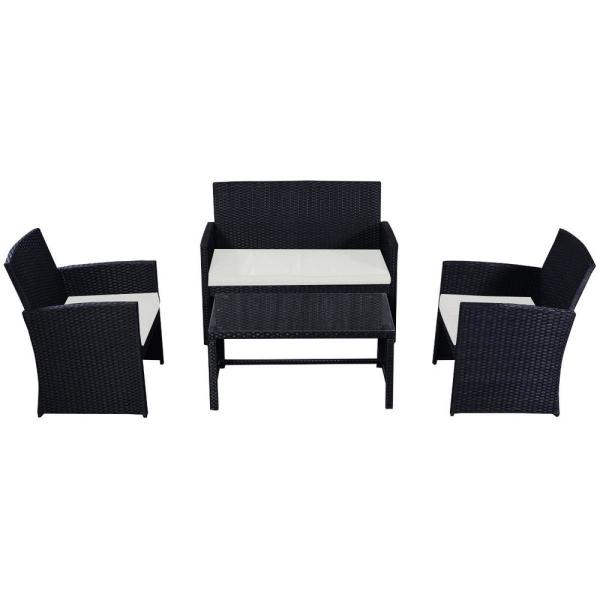 4-Piece Rattan Patio Conversation Set with Beige Cushion