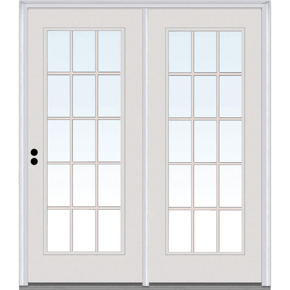 MMI Door 68 in. x 80 in. Grilles Between Glass Primed Fiberglass Smooth Prehung Right-Hand Inswing 15 Lite Stationary Patio Door
