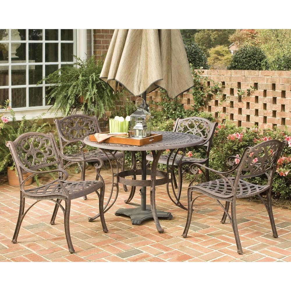 Biscayne 42 in. Bronze 5-Piece Round Patio Dining Set
