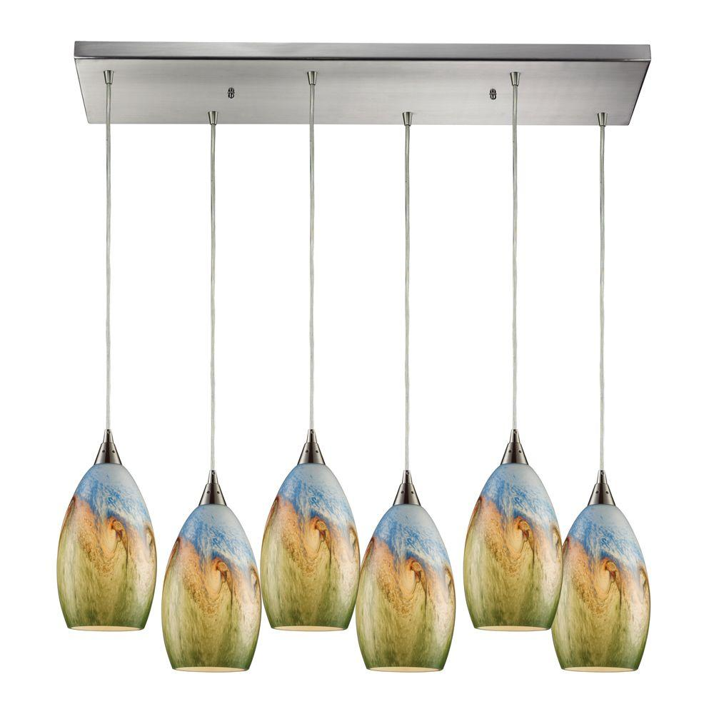 Geologic 6-Light Satin Nickel Ceiling Mount Pendant