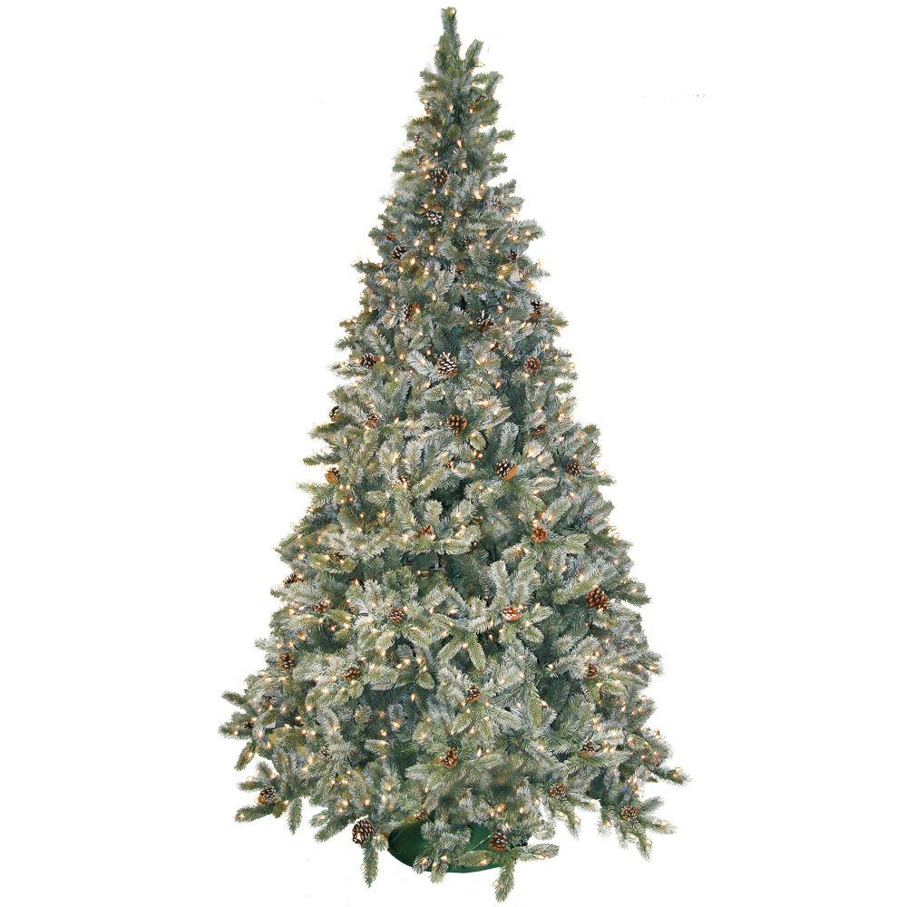 general foam 9 ft pre lit siberian frosted pine artificial christmas tree with clear lights and. Black Bedroom Furniture Sets. Home Design Ideas