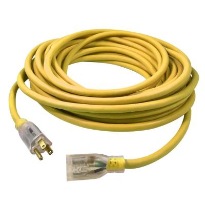 USW 100 ft. 14/3 Yellow Extension Cord with Lighted Plug