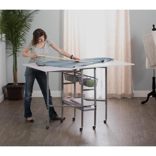 W x 36 in Fabric Cutting Table 60 in D Foldable Adjustable Height Drawer