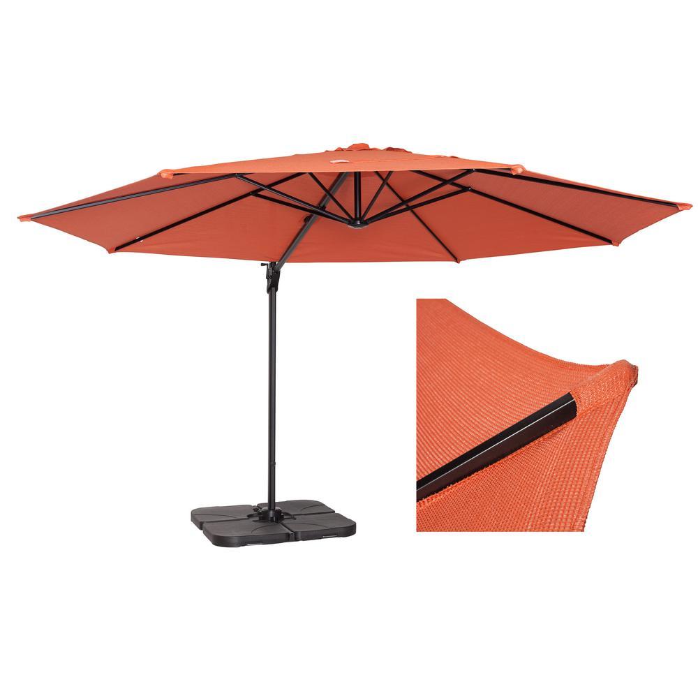 12 ft. Round Cantilever Patio Umbrella in Terracotta
