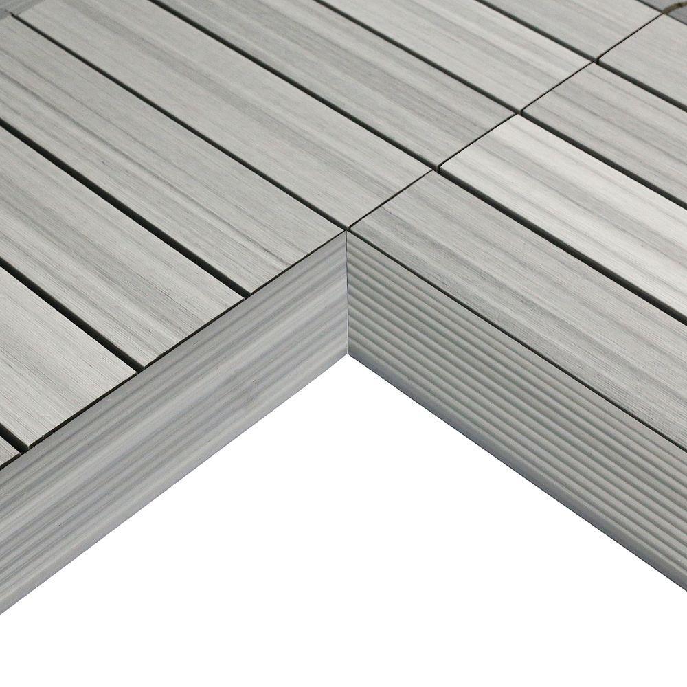 1/6 ft. x 1 ft. Quick Deck Composite Deck Tile Inside Corner Fascia in Icelandic Smoke White (2-Pieces/Box)