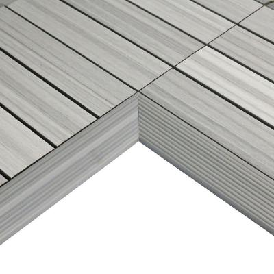 1/6 ft. x 1 ft. Quick Deck Composite Deck Tile Inside Corner Fascia in Icelandic Smoke White (2-Pieces/Box)