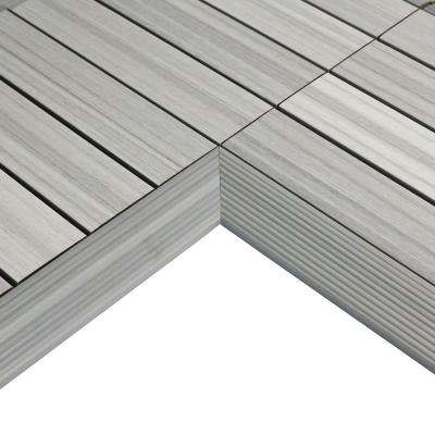 1/6 ft. x 1 ft. Quick Deck Composite Deck Tile Inside Corner in Icelandic Smoke White (2-Pieces/Box)