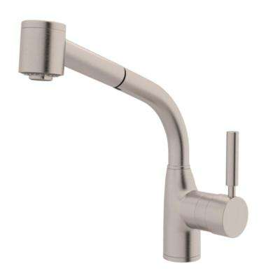 Modern Lux Single-Handle Pull-Out Sprayer Kitchen Faucet in Satin Nickel