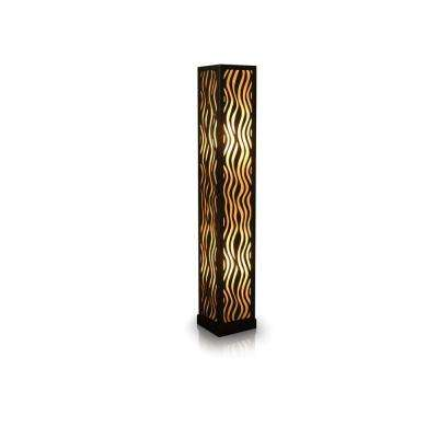 Aries 53 in. Black Floor Lamp with Handcarved Wave Design