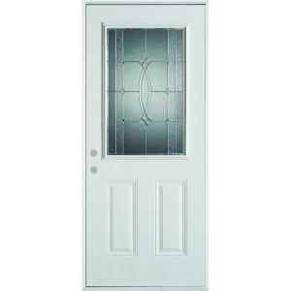 Stanley Doors 32 in. x 80 in. Diamanti Classic Zinc 1/2 Lite 2-Panel Painted White Steel Prehung Front Door-1534S-S-32-R-Z - The Home Depot  sc 1 st  The Home Depot & Stanley Doors 32 in. x 80 in. Diamanti Classic Zinc 1/2 Lite 2 ... pezcame.com