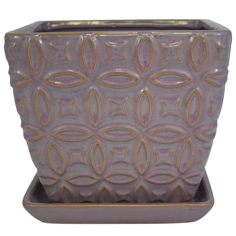 8 in. Sunrise Diamond Square Ceramic Planter