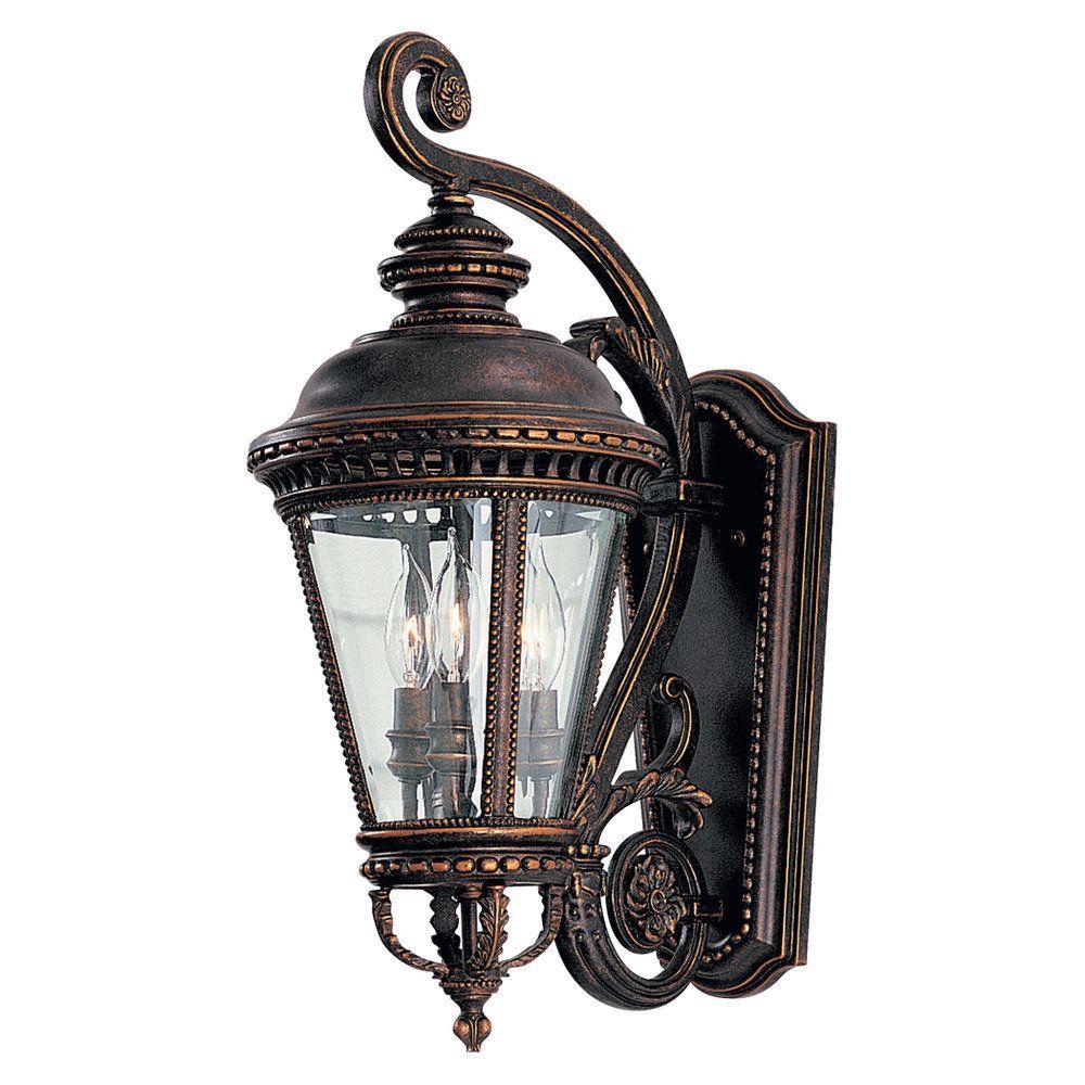 Castle 9.25 in. W 3-Light Grecian Bronze Outdoor 22.5 in. Wall Lantern Sconce