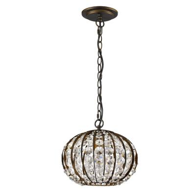 Olivia 1-Light Indoor Pendant Oil Rubbed Bronze Pendant with Crystal