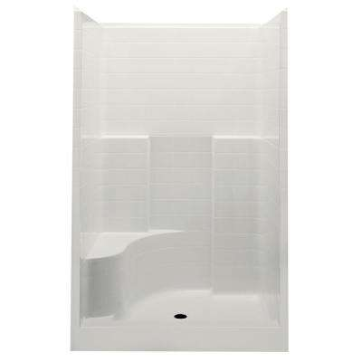Everyday Smooth Tile 48 in. x 34-7/8 in. x 76 in.1-Piece Shower Stall with Left Seat and Center Drain in Biscuit