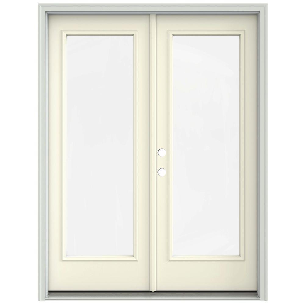 Jeld wen 60 in x 80 in french vanilla prehung right hand for 18 x 80 french door