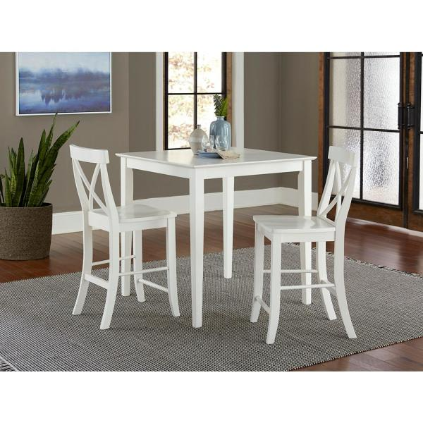 3-Piece Set White Solid Wood 36 in Square Counter-height Table with 2 Alexa Armless Stools
