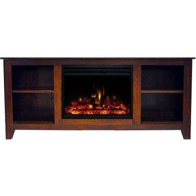 Santa Monica 63 in. Electric Fireplace Heater TV Stand in Walnut with Enhanced Log Display and Remote