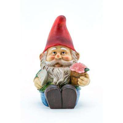 Gnome Sitting With Shovel And Glowing Flower Garden Statue