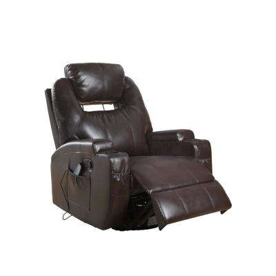 Waterlily Brown Bonded Leather Match Swivel Rocker Recliner with Massage
