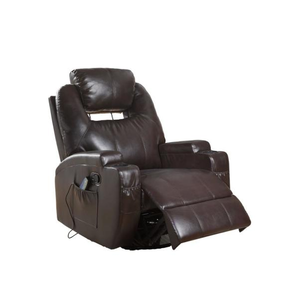 Acme Furniture Waterlily Brown Bonded Leather Match Swivel Rocker Recliner with