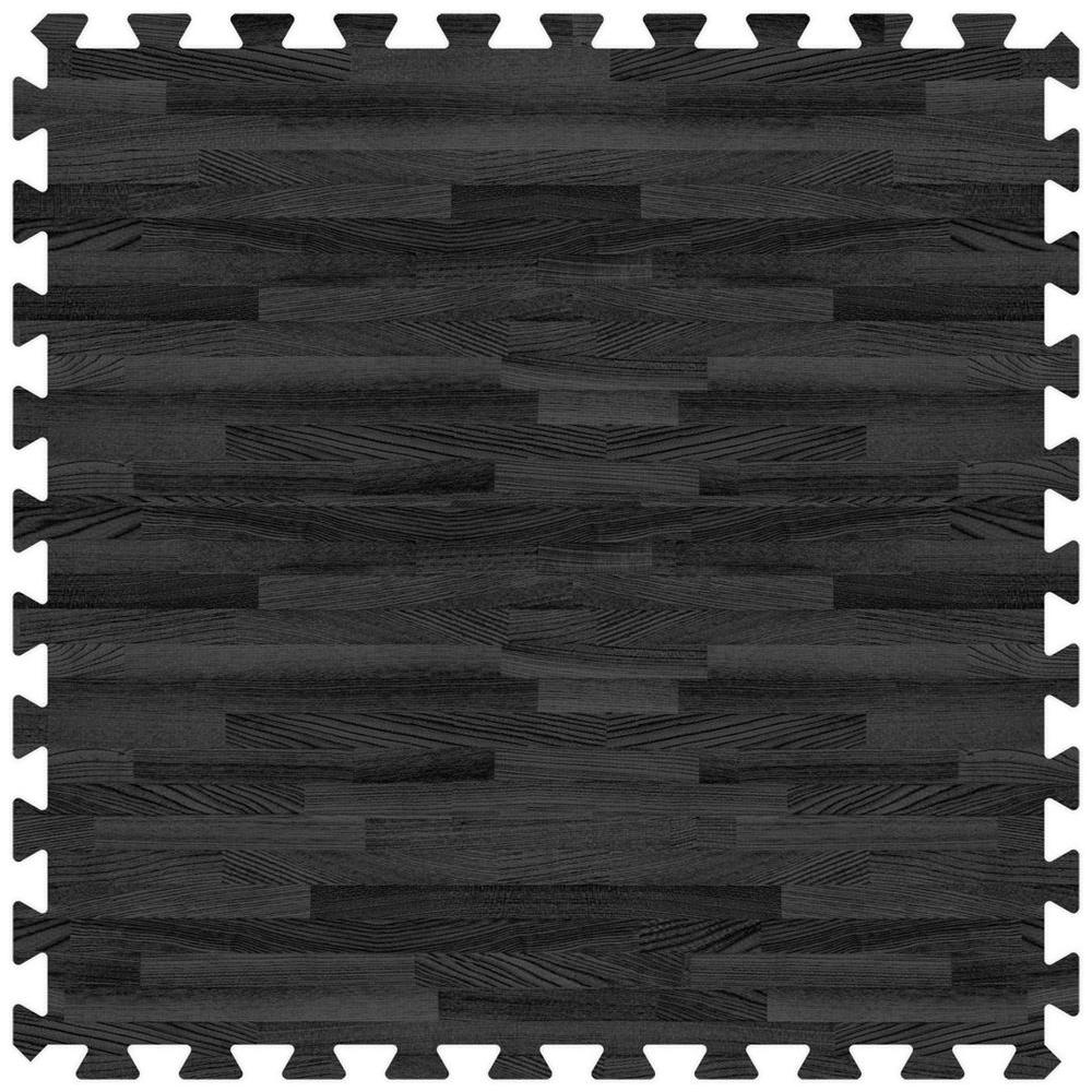 Black 24 in. x 24 in. Comfortable Wood Grain Mat (100