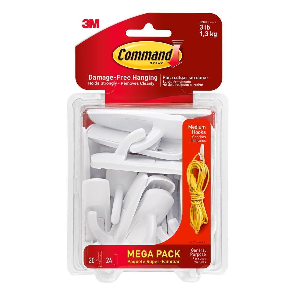 White Medium Utility Hook (20-Hook/24-Strip per Pack)