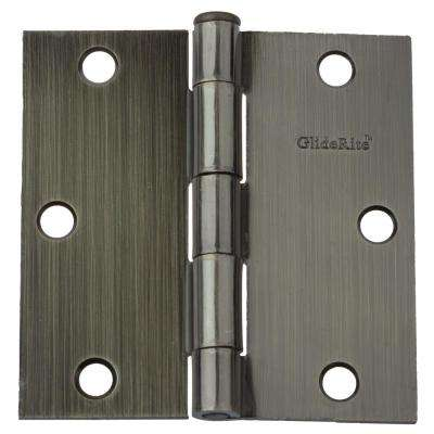 3-1/2 in. Steel Antique Brass Steel Door Hinges Square Radius with Screws (12-Pack)