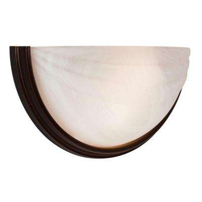 Crest 2 Light Oil-Rubbed Bronze Sconce with Alabaster Glass Shade