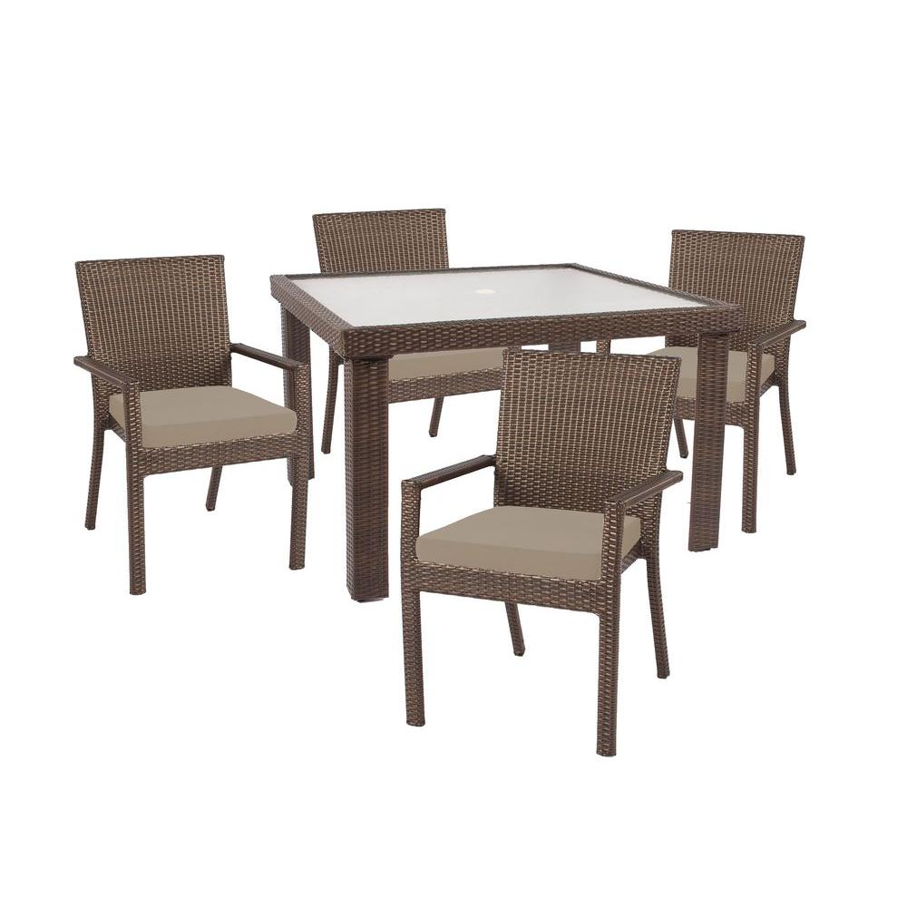Hampton Bay Beverly 5-Piece Patio Dining Set with Beverly Beige Cushion