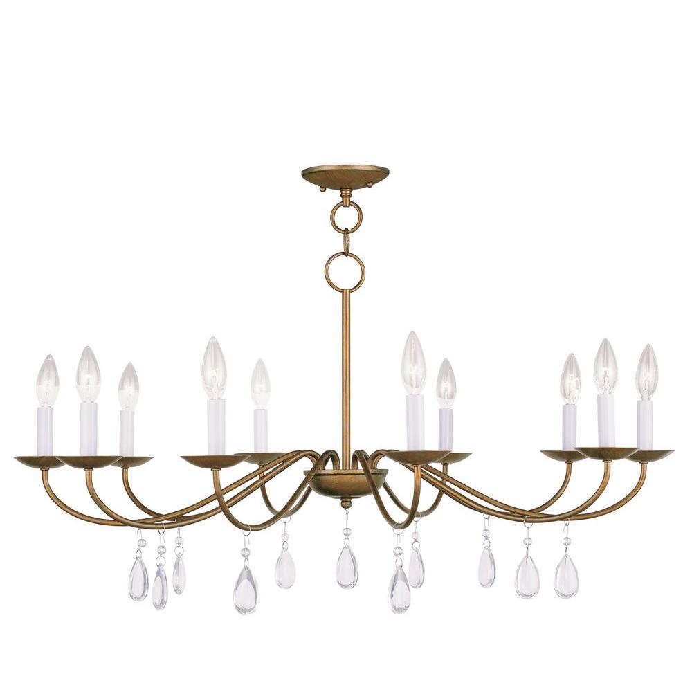 Livex Lighting Providence 10-Light Antique Gold Leaf Incandescent Ceiling Chandelier
