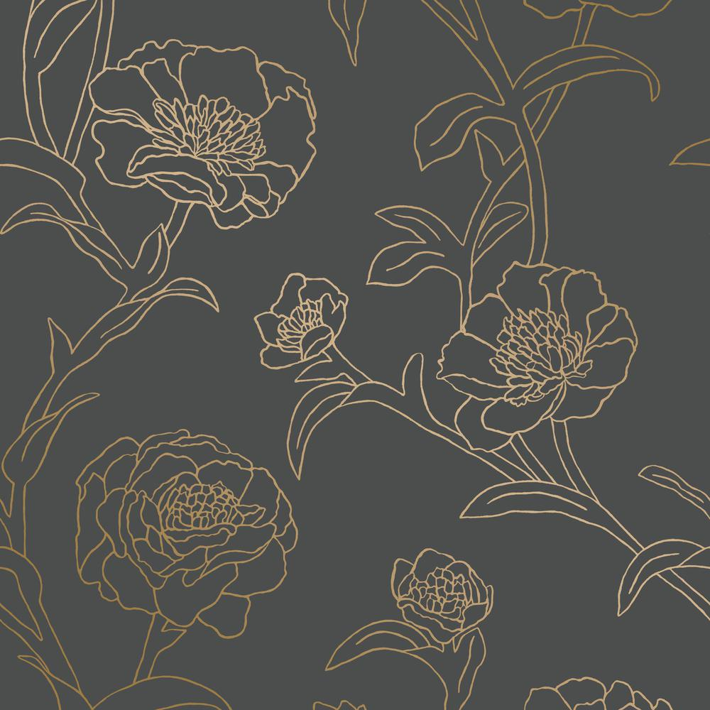 Tempaper Peonies Noir Self Adhesive Removable Wallpaper