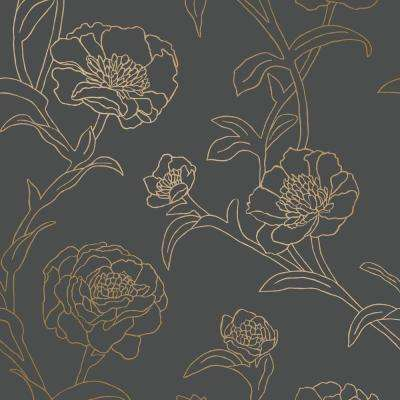 Peonies Noir Self-Adhesive Removable Wallpaper