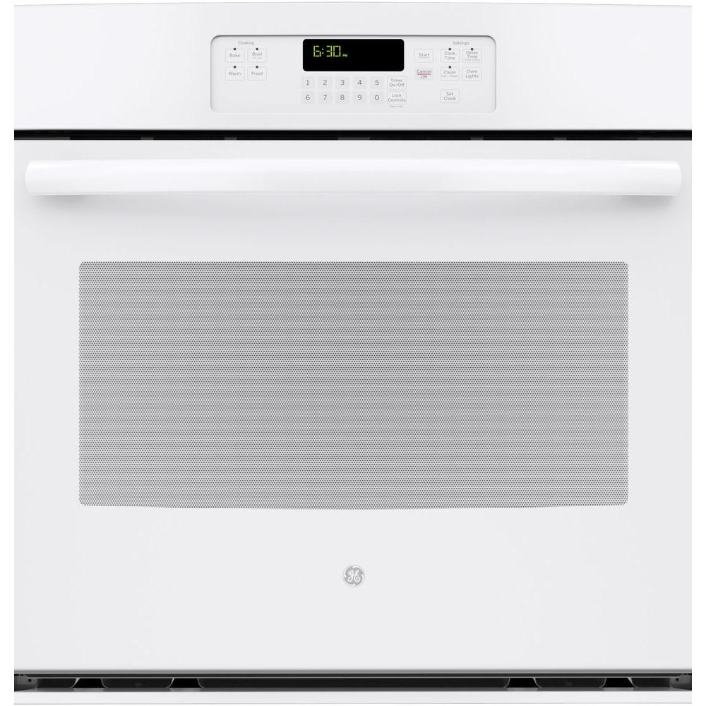Ge 30 in single electric wall oven self cleaning with steam in single electric wall oven self cleaning with steam in white jt3000dfww the home depot sciox Choice Image