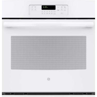 30 in. Single Electric Wall Oven Self-Cleaning with Steam in White