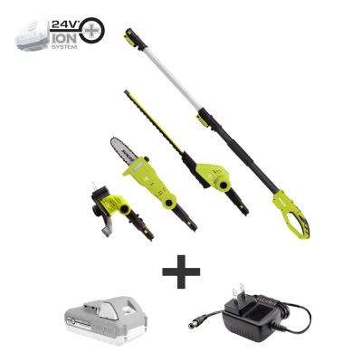 24-Volt Cordless Electric Lawn Care System Hedge Trimmer, Pole Saw and Grass Trimmer Kit with 2.0 Ah Battery + Charger
