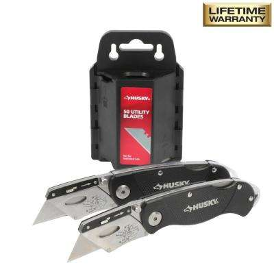 Folding Lock-Back Utility Knife with 50 Blades in Dispenser (2-Piece)