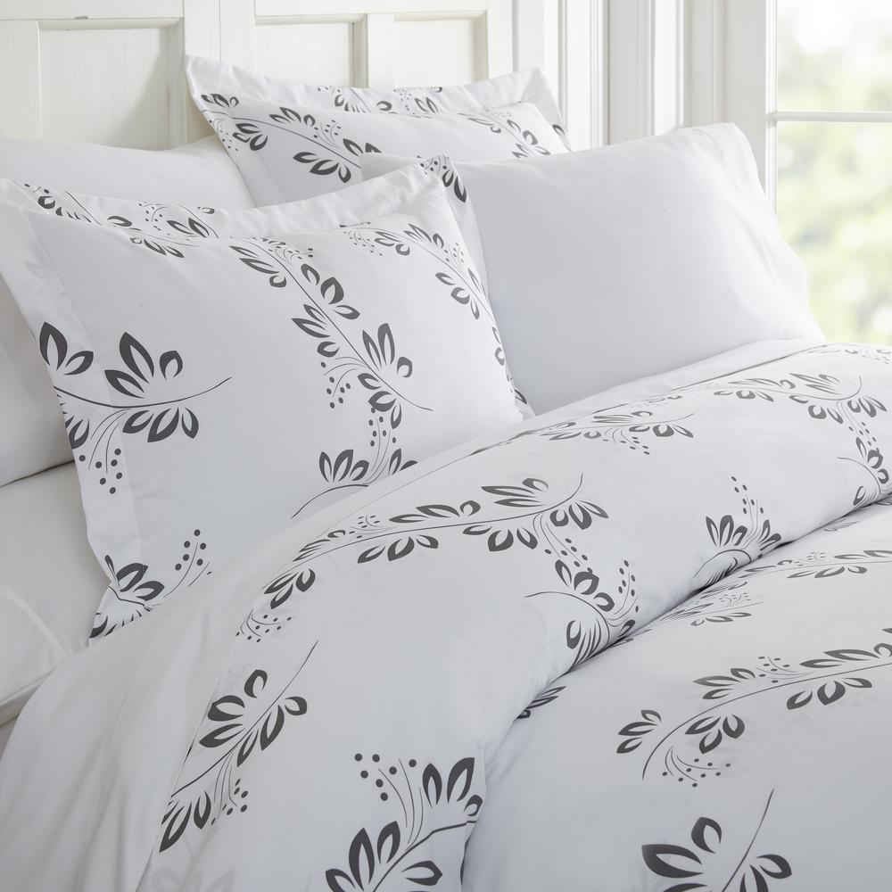 Simple Vine Patterned Performance Gray King 3-Piece Duvet Cover Set