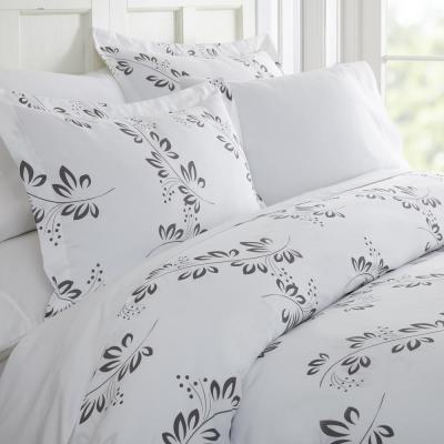 Simple Vine Patterned Performance Gray Queen 3-Piece Duvet Cover Set