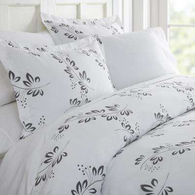 Simple Vine Patterned Performance Gray Twin 3-Piece Duvet Cover Set