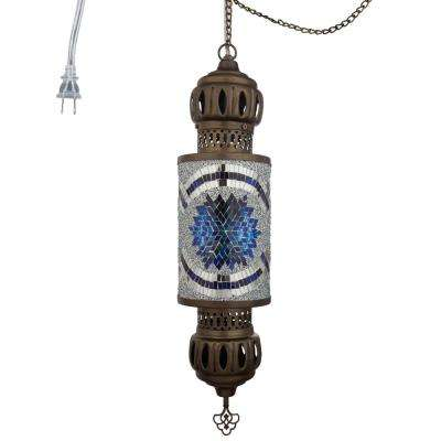 1-Light Blue Turkish Mosaic Cylinder Plug-In Pendant