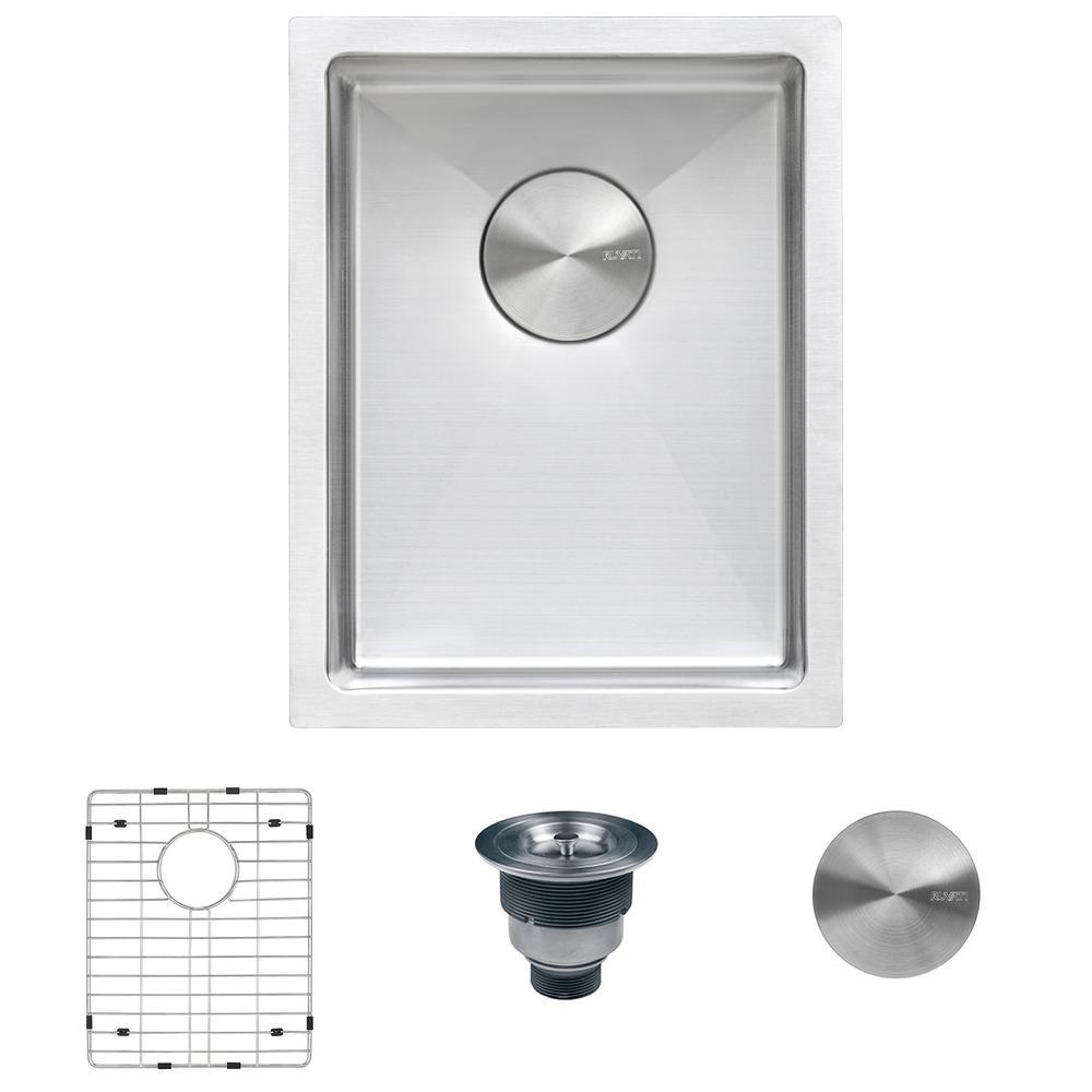 Undermount Stainless Steel 14 in. Bar Prep Single Bowl Kitchen Sink 16-Gauge